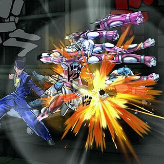 Josuke and Crazy Diamond attacking, <i>Eyes of Heaven</i>