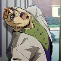 Kinoto sliding on Rohan's door to hide his back.