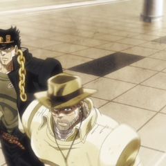 Jotaro, Joseph and Polnareff returning home