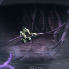 Joseph's Hermit Purple projecting what's on Joseph's brain onto a TV.