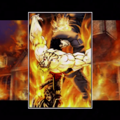 Impaled on a statue in the burning mansion, seemingly defeated