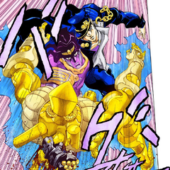 Star Platinum punches through The World's stomach after <a href=