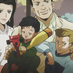 Keicho as a child, along with his family.