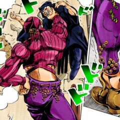 The Boss in Doppio's clothes, attacking a fortune teller