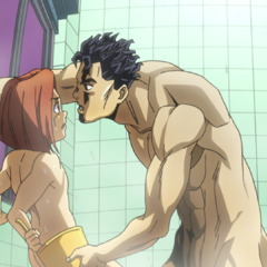 Hayato being intimidated by Kira in the bathroom.