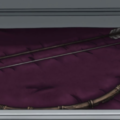 The Bow and Arrow resting in a protective case.