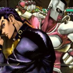 Josuke executing his HHA, <i>ASB</i>