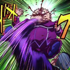 Shigechi gets punched in the face by Okuyasu once his guard is lowered.