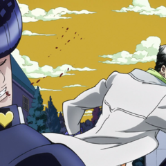 Punched in the face by Jotaro.