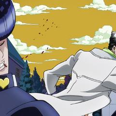 Jotaro punches Josuke in the face.