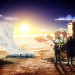 Joseph watches with Jotaro as DIO's ashes are scattered in the wind