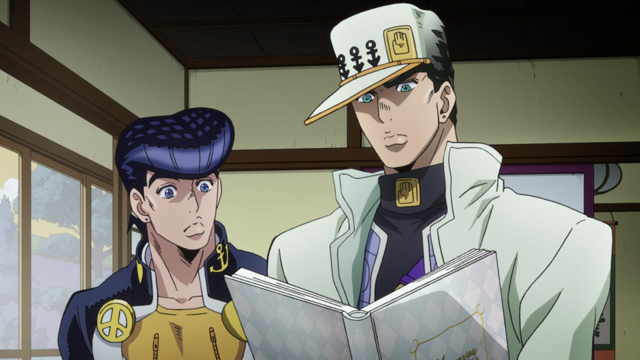 File:Jotaro and Josuke find Kira's ledger.png