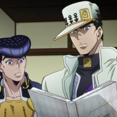 Jotaro and Josuke discover Kira's ledger of fingernail information.