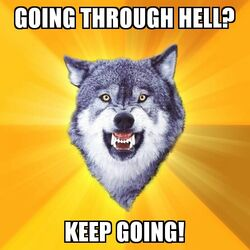 Courage Wolf Going Through Hell