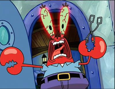 Mr. Krabs screaming in pain from getting salt in his eyes