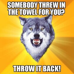 Courage Wolf Throw In The Towel