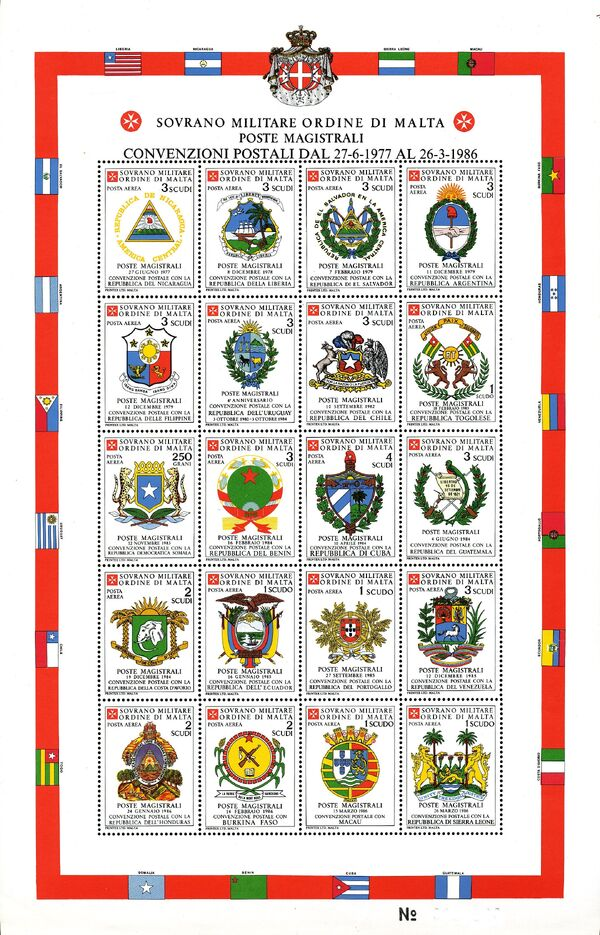 Sovereign Military Order of Malta 1986 Agreements Concluded by The Postal ww
