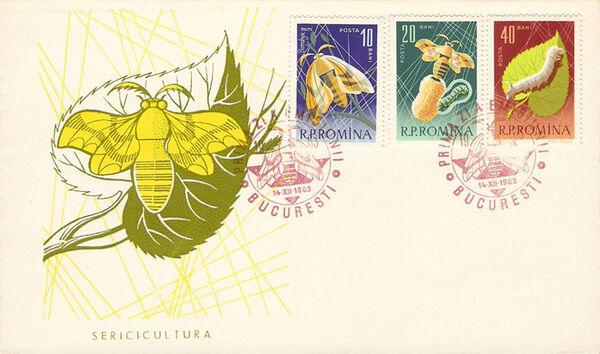 Romania 1963 Bees & Silk Worms i