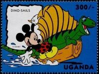 Uganda 1993 Mickey Mouse and Friends with Dinosaurs e