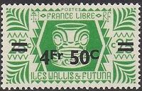 Wallis and Futuna 1946 Ivi Poo Bone Carving in Tiki Design Surcharged g