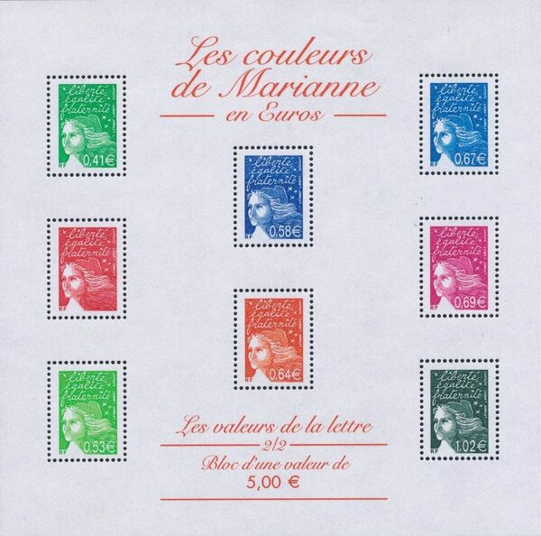 France 2002 Definitive Issue - Marianne de Luquet z