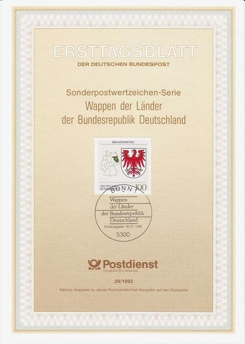 Germany, Federal Republic 1992 Coat of Arms of the Federal States of Germany (1st Group) IOP-ETBd