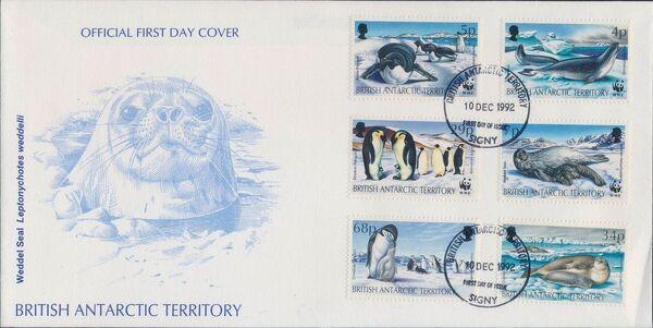British Antarctic Territory 1992 WWF Seals and Penguins FDCa