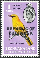 Botswana 1966 Overprint REPUBLIC OF BOTSWANA on Bechuanaland 1961 a