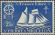 St Pierre et Miquelon 1942 Fishing Schooner St. Malo j