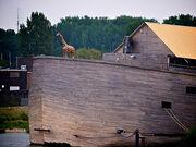 Giraf en olifant op de Ark