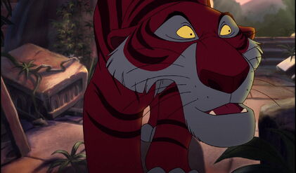 Shere Khan the Tiger is searching for Mowgli in the old temple