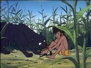 Bagheera helping Mowgli