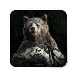 Baloo mowgli the jungle book square sticker-r51a560a7ffd2412bb21d3f74fc144e5b v9wf3 8byvr 398