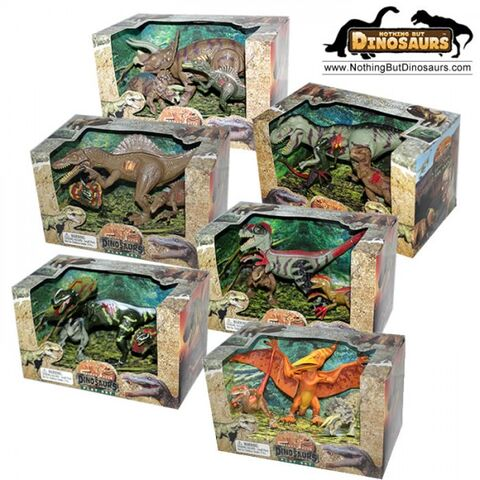 File:Lontic extinct world articulated t-rex triceratops spinosaurus velociraptor dilophosaurus pteranadon dinosaur toy action figures play sets - 6 box bundle - noth.jpg