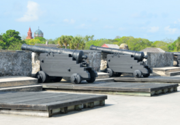 Old-timy cannons at some fortress