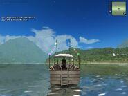 Trawler recreational, rear view.