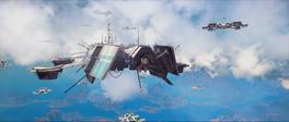 Sky Fortress (trailer screenshot - fleet of enemy ships - front 2)