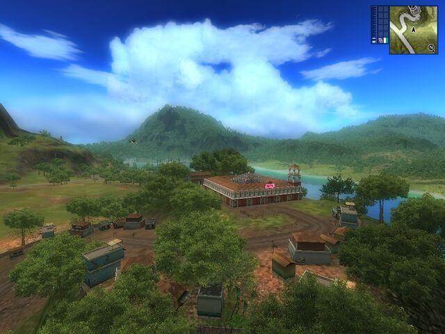 File:Unmarked hotel and village at Provincia de la Cruz.jpg