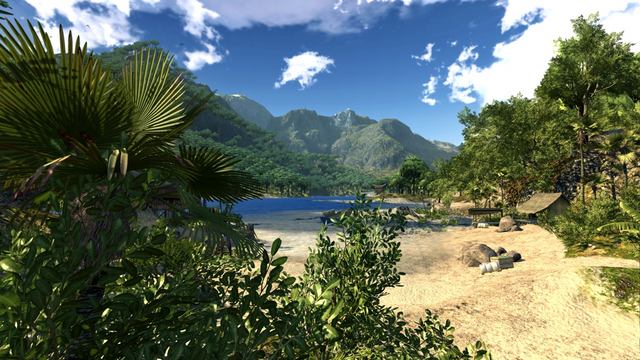File:JC2 beta (river, mountains and hut).PNG