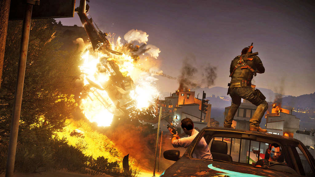 File:Rico and Mario on a Stria Facocero (front view), blowing up a helicopter.png