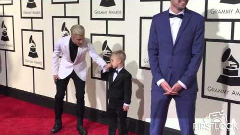 Justin Bieber and Jaxon Bieber arrive at the 58th GRAMMY Awards in Los Angeles
