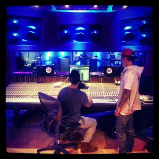 Brandon and Justin in the studio