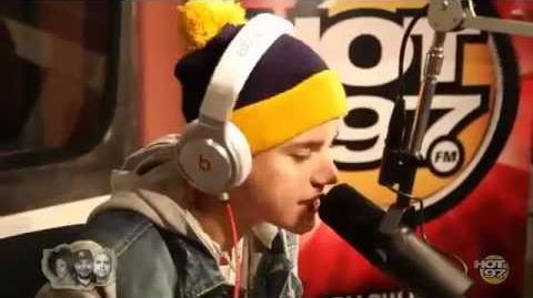 Justin Bieber rapping on ''Hot 97''
