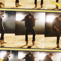 Page 10 of the booklet, with Justin doing his famous Michael Jackson moves.