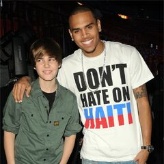 Justin and Chris Brown at 'Help for Haiti' benefit concert on <a href=