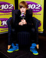 Justin promotes 'My World 2.0' at the Q102 radio station