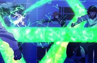 Nagare attacks the Red and Blue clansman