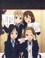 Mio, Mugi, Ritsu and Yui graduating