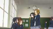 Mio and ritsu at azusa's and ui's class
