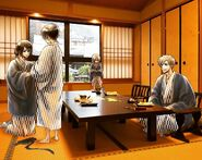 Usui Family at hot spring